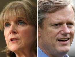 Attorney General Martha Coakley has a 41 to 26 percent edge on the leading Republican, Charlie Baker, in a head-to-head contest. (AP)