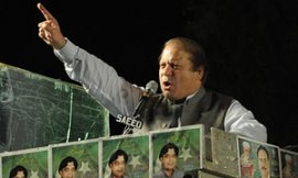 Nawaz Sharif at a campaign rally in Liaquat Bagh, Pakistan.