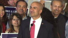 Neel Kashkari concedes the 2014 governor's race in a speech in Costa Mesa. (Credit: KTXL)