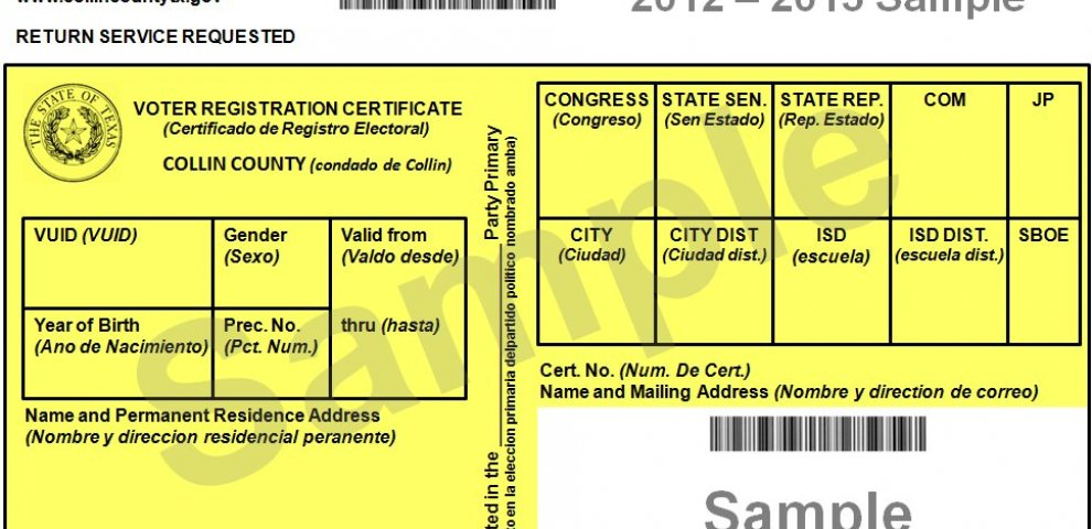 Texas Voter registration Cards