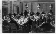 The Electoral Commission comprised of House Members, Senators, and Supreme Court Justices investigated the disputed Electoral College ballots from the South after the 1876 presidential election. The Commission, seen here meeting by candle light in the Old Supreme Court Chamber in the Capitol, awarded all the disputed ballots to Rutherford B. Hayes, who became President by a single electoral vote.