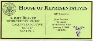 Ticket to Joint Session of Congress to Count Electoral Vote