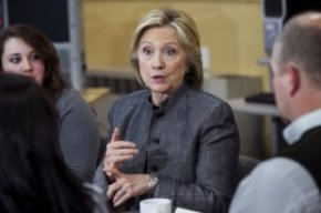 U.S. presidential candidate and former Secretary of State Hillary Clinton participates in a discussion in a classroom at New Hampshire Technical Insti...